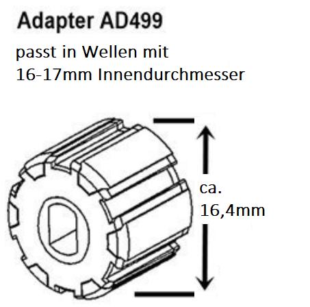 Akkumotor Rohrmotor Adapter 16 17 18 mm Rundwelle