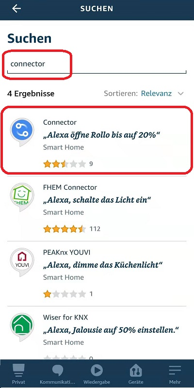 Alexa Rollo Connector verbinden